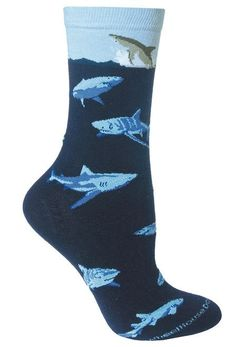 Have to defiantly add this to my sock collection. #Happyfeet #sharks #coolsocks Shark Socks, Sock Shop, Crazy Socks, Novelty Socks, Happy Socks, Cotton Socks, Gifts For Friends, Navy, Sharks