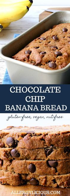 This Chocolate Chip Banana Bread is about the most delicious Vegan & Allergy-friendly sweet bread around. GF,NF