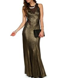 Goldi- Gold/Black Mesh Glitter Long Prom Dress