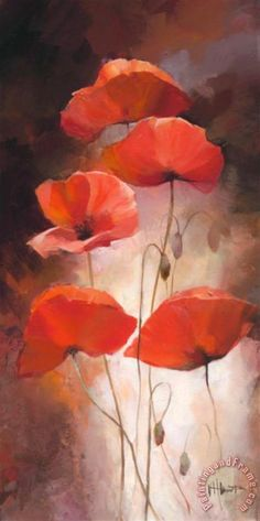 Poppy Bouquet Ii Stretched Canvas Print / Canvas Art for sale. Shop your favorite willem haenraets Poppy Bouquet Ii Stretched Canvas Print / Canvas Art without breaking your banks. Watercolor Flowers, Watercolor Paintings, Poppies Painting, Poppies Art, Red Poppies, Poppy Flower Painting, Poppy Flowers, Yellow Roses, Oil Paintings