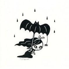 'Shared Umbrella' by ❤️ - gothic_flamingo Gothic Horror, Gothic Art, Tim Burton Drawings, Rockabilly, Cute Goth, Pokemon Tattoo, Creepy Cute, Goth Girls, Easy Drawings