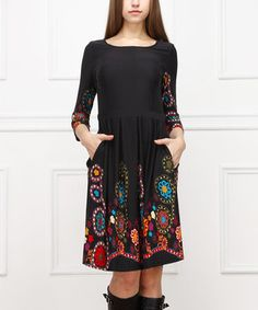 Look at this #zulilyfind! Black & Red Embroidered A-Line Dress by Reborn Collection #zulilyfinds