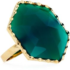 Lana 14k Envy Green Onyx Hexagon Ring ($484) ❤ liked on Polyvore featuring jewelry, rings, yellow gol, round ring, hexagon jewelry, round solitaire ring, polish jewelry and green onyx jewelry
