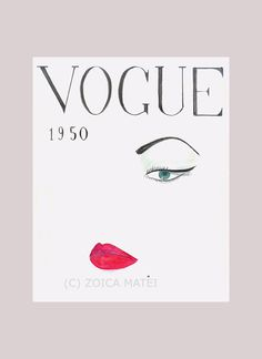 Watercolor Face 1950 Vogue Poster, Vogue Cover Fashion Illustration, Poster, Fashion Wall Art, Girls Room Decor, Fashion Sketch Print by Zoia on Etsy https://www.etsy.com/listing/162656483/watercolor-face-1950-vogue-poster-vogue