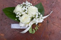 corsage - white spray rose with baby's breath & greenery and white bow Portfolio | Teacup Floral |Teacup Floral |