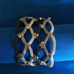 """Tribal Latisse mesh magnetic bracelet This bracelet looks simply gorgeous on the wrist.  It has a very strong magnetic closure.  Size: 1 1/2""""H  7 5/8""""L Color:  Silver, Rhodium, Hematite Farah Jewelry Jewelry Bracelets"""