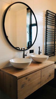 Bathroom Inspo, Bathroom Inspiration, Dining Room Wall Decor, Wood Vanity, Small Bathroom, Sweet Home, New Homes, Mirror, House