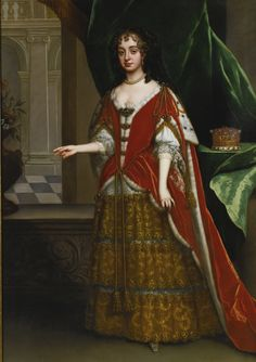 Portrait of a countess wearing robes for the coronation of James II, attributed to Jacob Huysmans, from Antwerp, circa 1630 – 1696, London.