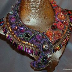 CARNIVAL  bead embroidered necklace