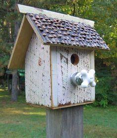 798D Salvage birdhouse with antique porcelain faucet handle perch recycledbirdhouse.com