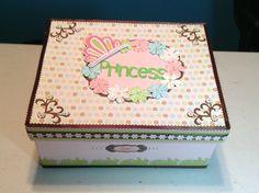 baby girl keepsake box little girl keepsake box scrapbooking paper crafting  princess keepsake box