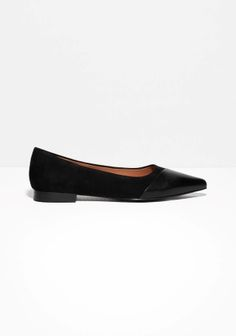 Sassy suede flats featuring pointy toes covered by goat leather with a light lustre.