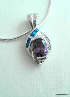 Captivating Lab Amethyst & Fire Opal Heart Necklace. Starting at $1 on Tophatter.com!
