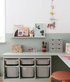 42 Charming Desk Space Design Ideas That Suitable For Kids Kura Ikea, Trofast Ikea, Bedroom Storage For Small Rooms, Kids Bedroom Organization, E Room, Ikea Storage, Storage Ideas, Kids Room Design, Kid Spaces