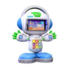 Robbi ($39.99) iLearn 'N' Play learning companion- Slip an iPhone or iPod into Robbi's faceplate and he comes alive. The intelligent learning apps use Bluetooth technology to connect the iPod/iPhone to the unit. The apps ask children to use the 10 chunky numbers in Robbi's tummy to focus on teaching beginning numbers, counting, addition/subtraction, colors, shapes and greater than/less than numbers. Each Robbi unit comes with a free lite version of iLearn 'N' Play's Numberbots app.