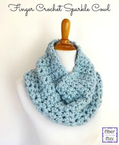 Fiber Flux...Adventures in Stitching: Free Crochet Pattern...Finger Crochet Sparkle Cowl...