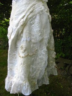 Wrap around Nuno felted Merino wool and Tussah silk fibers skirt