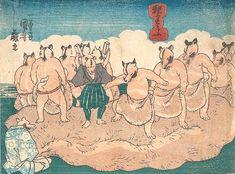 SUMO WRESTLING OF TANUKI  KUNIYOSHI UTAGAWA 1798-1861 Last of Edo Period