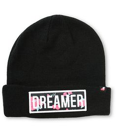 "This tight ribbed knit beanie is finished with a brand tag on the hem and a floral print ""Dreamer"" patch at the cuff for a trendy and comfortable look."