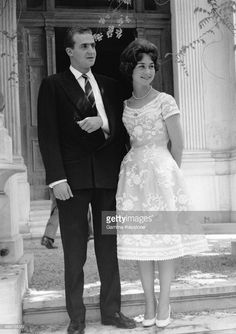 Prince Juan Carlos of Spain, with his arm in a sling, and Princess Sofia of Greece shortly before their wedding in 1962.