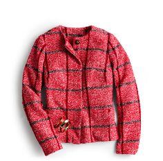 A chic red windowpane pattern jacket.