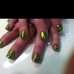 My leprechaun green nails for upcoming St. Patty's Day! :)