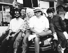 Neil Canton, Bob Gale, Christopher Lloyd, Robert Zemeckis and Michael J. Fox | Rare, weird & awesome celebrity photos