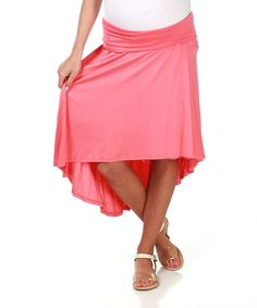Look what I found on #zulily! PinkBlush Maternity Coral Over-Belly Maternity Hi-Low Skirt by PinkBlush Maternity #zulilyfinds