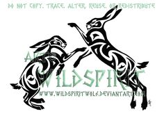 Hare And Moon Tribal Design by WildSpiritWolf on DeviantArt Irish Mythical Creatures, Boxing Tattoos, Fighting Tattoo, Rabbit Silhouette, Silhouette Art, Tribal Animals, American Indian Tattoos, Rabbit Tattoos, Stencil Patterns