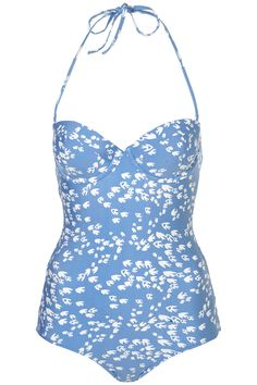 Blue Bird Print One-Piece Swimsuit