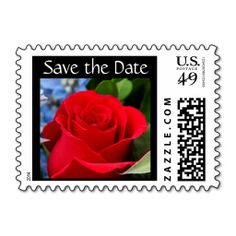 Save the Date, Red Rose Postage Stamp, Customize text if desired, perfect for weddings or other upcoming eventsSave the Date, Red Rose Postage Stamp