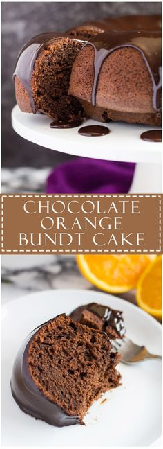 Chocolate Orange Bundt Cake - Deliciously moist and fluffy chocolate bundt cake infused with orange, and topped with a rich and creamy dark chocolate orange ganache! Baking Recipes, Cake Recipes, Dessert Recipes, Bunt Cakes, Cupcake Cakes, Cookie Cakes, Just Desserts, Delicious Desserts, Lemon And Coconut Cake