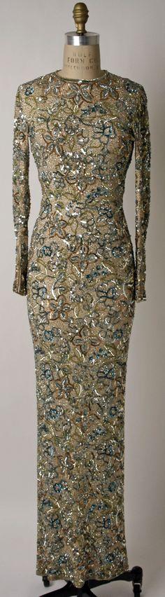 Evening Dress, Norman Norell (American, Noblesville, Indiana 1900–1972 New York): ca. 1950-1965, American, silk, plastic, rhinestones.