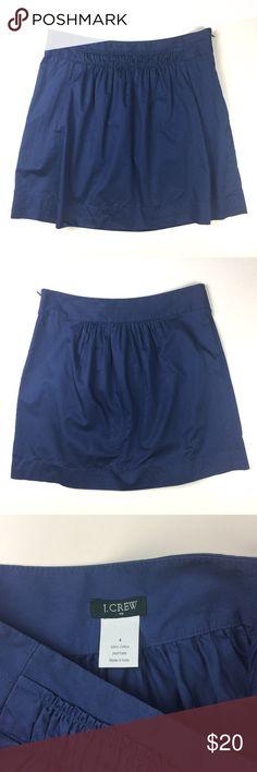 "J. Crew Factory Ocean Blue Gathered Skirt Adorable J. Crew Factory skirt. Ocean blue 100% cotton. Lightweight. Side zipper. Very good condition. Size 4. 17 1/2"" long. 15"" waist flat. J. Crew Factory Skirts Mini"