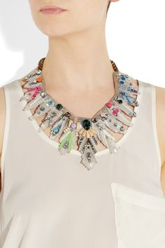 ► Feather crystal and bead bib necklace