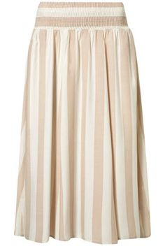 Topshop | Pink and Cream Striped Midi Skirt    Reminds me of the subtle vertical stripes in some of El Anatsui's wall sculptures.