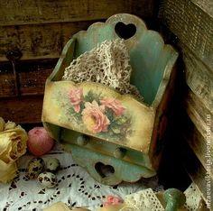 """Деревянная ключница """"Роза мятная"""" - винтаж,массив липы,бирюзовый,цветы"""
