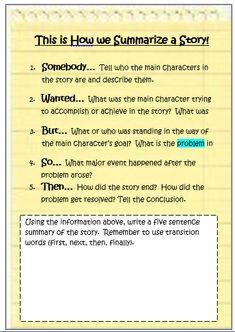 Teach Summarizing Using a Highly Effective Anchor Chart | Teach. Write. Create.