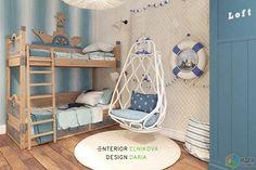 Дизайн детской комнаты, детская для двоих детей