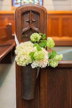 Wedding pew flowers in church
