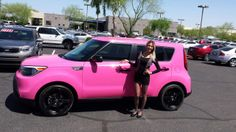 """""""Another 'satisfied soul' drives off our lot in this pink wrap 2014 Soul! Thank you for choosing Earnhardt Kia, come back soon! Car Rims, Rims For Cars, Nissan Micra Cc, My Dream Car, Dream Cars, Kia Soul Accessories, Soul To Squeeze, Pink Cars, Pink Barbie"""