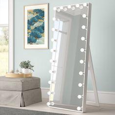 Full Length Mirror With Lights, Full Length Mirror Stand, Bulb Mirror, Mirror Lamp, Floor Standing Mirror, Mirror Floor, Room Ideas Bedroom, Room Decor, Dream Bedroom