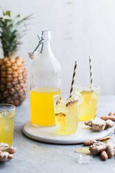 Pineapple Ginger Iced Tea with Turmeric root