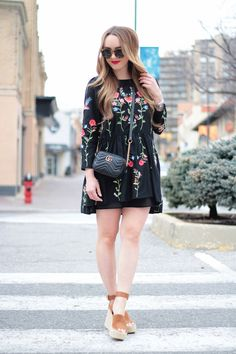 Embroidered Dress, floral dress, outfit idea, fashion blogger, Rachel Puccetti, Between Two Coasts