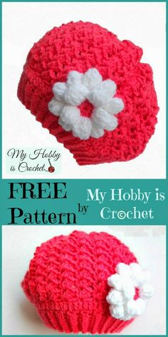 Parisian Sweetheart Slouch Hat - Free crochet pattern Toddler size (up to 5 yrs)-Another that Erynn shared with me Crochet Girls, Crochet Baby Hats, Crochet Beanie, Knit Or Crochet, Crochet For Kids, Crochet Toddler Hat, Crocheted Hats, Crochet Summer, Knit Hats