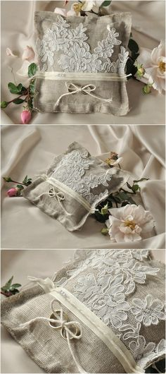 Rustic burlap lace ring Bearer Pillows
