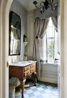 John B. Murray powder room via design bathroom design designs interior Bad Inspiration, Bathroom Inspiration, Interior Inspiration, Baños Shabby Chic, Beautiful Bathrooms, Small Bathroom, Bathroom Gray, Master Bathroom, Bathroom Interior