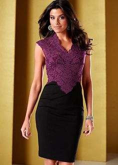 This is a classic look for evenings.  Loving the purple on top and black bottom of this dress, plus the lace styling gives this dress a romantic touch.  Let's go with silver and black accessories to make it pop a bit.