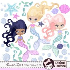 Digital Mermaid Clip Art Printable Mermaid Download Clipart Graphics Images (4.75 USD) by DigitalDollface