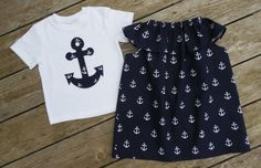 Brother and Sister Matching Anchor Outfits Girl's by Livanni Siblings, Twins, Matching Sister Outfits, 3 Kids, Children, Anchor Shirts, Little Fashionista, Baby Style, Brother Sister